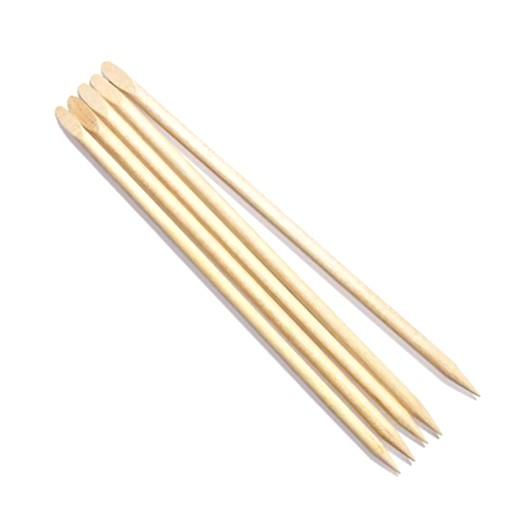 Betisoare Lemn pentru Cuticule cu Capat Oblic - Beautyfor Wooden Cuticle Pusher Slant, 120mm, 5 buc imagine produs
