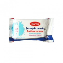 Servetele Umede Antibacteriene Narcis, 15 buc