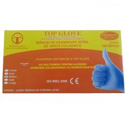Manusi de Examinare Nitril Nepudrate Albastre Marimea M Top Glove, 100 buc