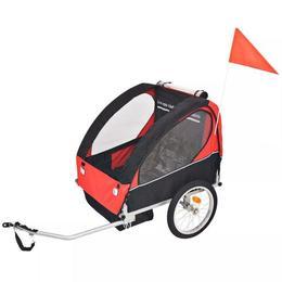 Remorca de bicicleta pentru copii VidaXL, rosu