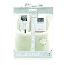 Set Cadou Baylis & Harding Jojoba, Silk and Almond Oil Slipper Set - Lotiune pentru Picioare 140ml, Cristale pentru Pedichiura 100g, Papuci