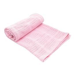 Paturica celulara din bumbac 70x100cm Pink - KikkaBoo
