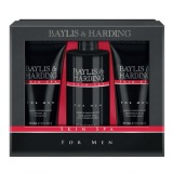 Set Cadou Baylis & Harding Men's Skin Spa Amber & Sandalwood 3 Piece Set - Lotiune de Curatare pentru Par si Corp 300ml, Gel de Dus 200ml, Balsam Aftershave 200ml