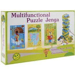 Joc turnul instabil Jenga puzzle, cu 3 puzzle-uri, multicolor - Disney Toy