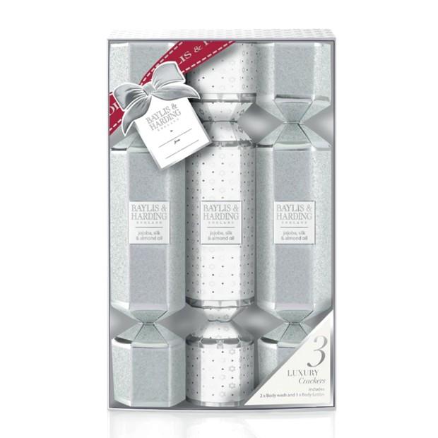 Set Cadou Baylis & Harding Jojoba, Silk & Almond Oil 3 Cracker Set - Gel de Dus 2 x 30ml, Lotiune de Corp 30ml imagine produs