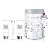 Set Cadou Baylis & Harding Jojoba, Silk & Almond Oil Round Tin Set - Crema de Dus 300ml, Gel de Dus 130ml, Lotiune de Maini si Corp 130ml
