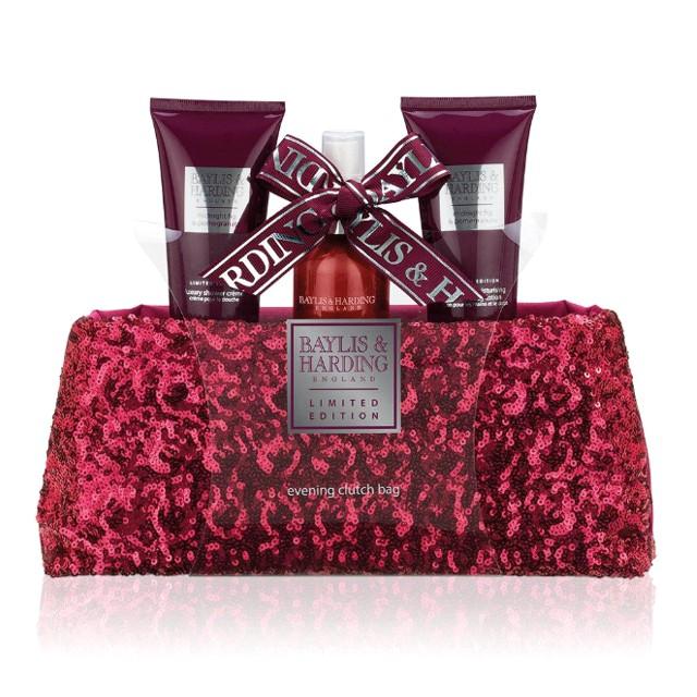 Set Cadou Baylis & Harding Midnight Fig & Pomegranate Clutch Bag Set - Gel de Dus 100ml, Lotiune de Maini si Corp 100ml, Spray de Corp 100ml imagine produs
