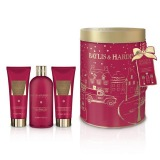 Set Cadou Baylis & Harding Midnight Fig & Pomegranate Round Tin Set - Crema de Dus 300ml, Gel de Dus 130ml, Lotiune de Maini si Corp 130ml