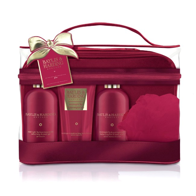 Set Cadou Baylis & Harding Midnight Fig & Pomegranate Luxury Bag Set - Gel de Dus pentru Par si Corp 300ml, Gel de Dus 300ml, Lotiune de Corp 200ml, Burete de Baie imagine produs