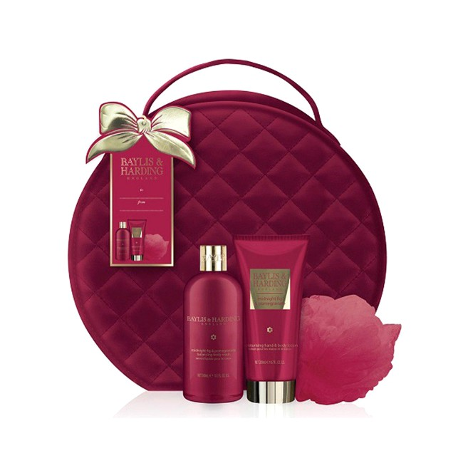 Set Cadou Baylis & Harding Midnight Fig & Pomegranate Vanity Bag Set - Gel de Dus 300ml, Lotiune de Maini si Corp 200ml, Burete de Baie imagine produs