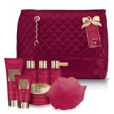 Set Cadou Baylis & Harding Midnight Fig & Pomegranate Weekend Bag Set - Gel de Dus 200ml, Crema de Baie 100ml, Lapte de Baie 100ml, Gel de Dus 100ml, Unt de Corp 250ml, Crema de Maini 50ml, Burete de Baie
