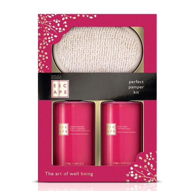 Set Cadou Baylis & Harding Cherry Blossom & Jasmine Benefit Set - Gel de Dus 500ml, Lapte de Baie 500ml, Manusa Exfolianta esteto.ro