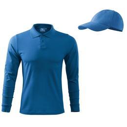 Bluza Adler - polo albastru azuriu pentru barbati din bumbac, marime M + sapca