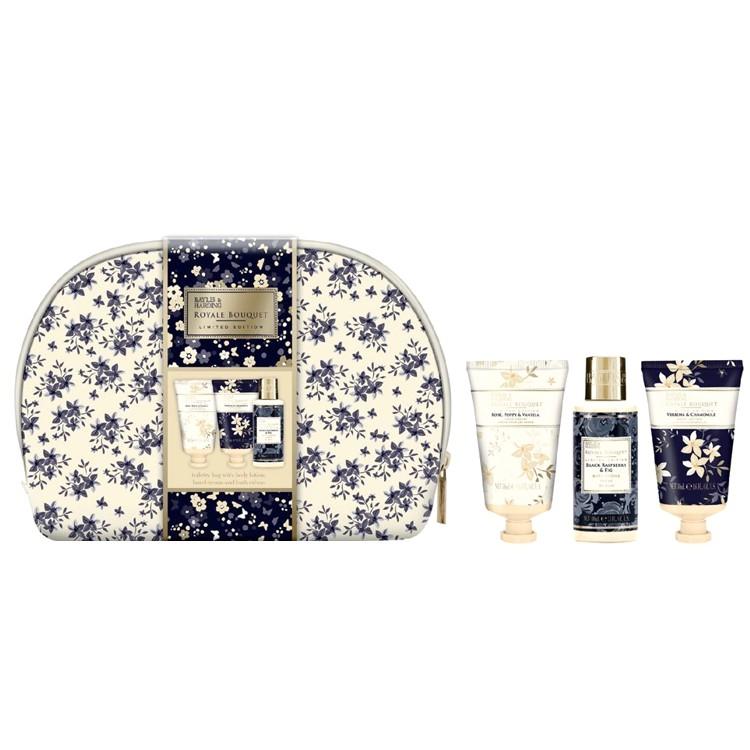 Set Cadou Baylis & Harding Royale Bouquet Floral Bag Set - Lotiune de Corp 50ml, Crema de Maini 50ml, Crema de Baie 100ml imagine produs