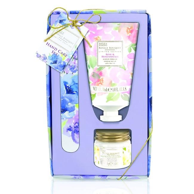 Set Cadou Baylis & Harding Royale Bouquet Manicure Set - Crema de Maini 30ml, Cristale pentru Manichiura 50g, Pila de Unghii imagine produs