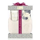 Set Cadou Baylis & Harding Floral Collection Slipper Set - Lotiune pentru Picioare 140ml, Cristale pentru Pedichiura 100g, Papuci