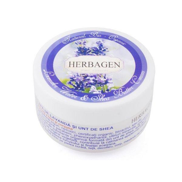 Crema cu Apa de Lavanda si Unt de Shea Herbagen, 150g imagine produs