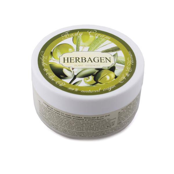 Crema de Corp Bio cu Masline si Vitaminele A+E Herbagen, 150g imagine produs