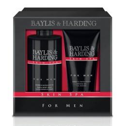 Set Cadou Baylis & Harding Men's Skin Spa Amber & Sandalwood 2 Piece Set - Lotiune de Curatare pentru Par si Corp 300ml, Gel de Dus 200ml