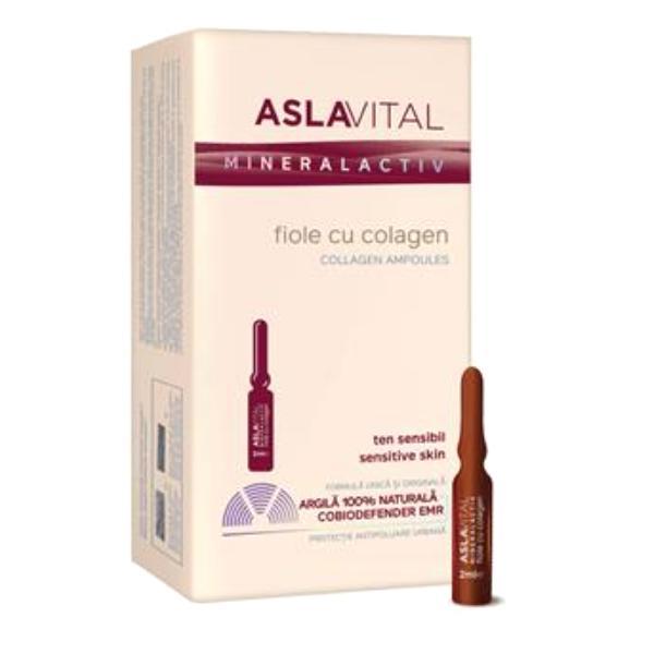Fiole cu Colagen - Aslavital Mineralactiv Collagen Ampoules, 10 fiole x 2ml imagine produs