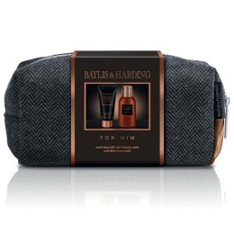 Set Cadou Baylis & Harding Men's Black Pepper & Ginseng Small Wash Bag Set - Lotiune de Curatare pentru Par si Corp 100ml, Balsam Aftershave 50ml