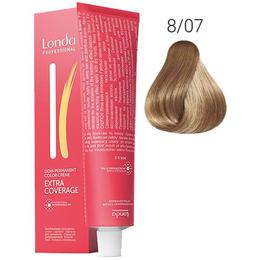 Vopsea Demi-Permanenta - Londa Professional Demi-Permanent Color Creme Extra Coverage, nuanta 8/07 Blond deschis natural, 60 ml