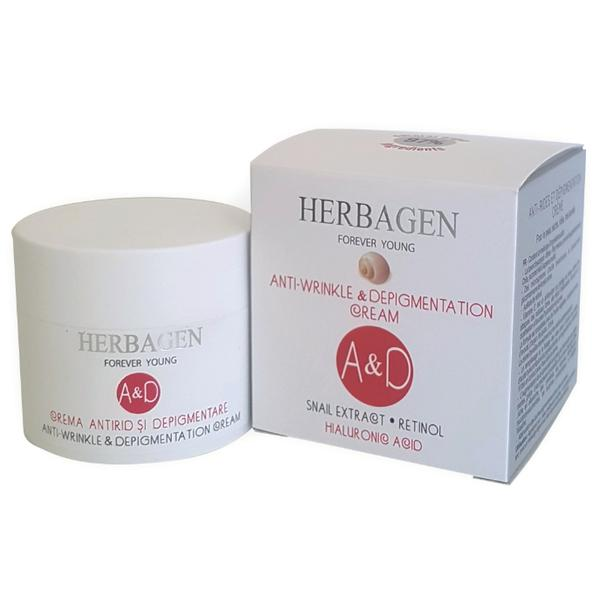 Crema Antirid si Depigmentare cu Extract din Melc, Retinol si Acid Hialuronic Herbagen, 50g