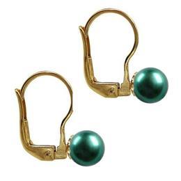 Cercei Aur Galben de 14 karate si Perle Naturale Verde Smarald Premium - Cadouri si Perle