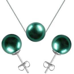 Set Aur Alb si Perle Naturale Premium Verde Smarald - Cadouri si Perle