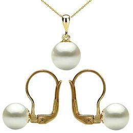 Set Aur 14 karate cu Perle Naturale Albe, Premium - Cadouri si Perle