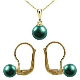 Set Aur 14 karate cu Perle Naturale Verde Smarald, Premium - Cadouri si Perle