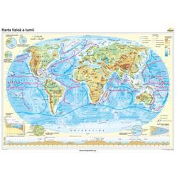 Lumea - Harta Fizica Cartographia 1:74 000 000, editura Cartographia