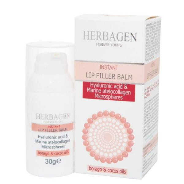 Balsam de Buze Filler cu Sfere de Acid Hialuronic si Colagen Marin Herbagen, 30g imagine produs