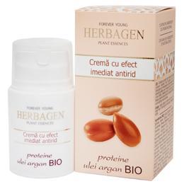 Crema cu Efect Imediat Antirid cu Proteine si Ulei de Argan Bio Herbagen, 50g