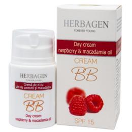Crema de Zi BB Cream cu Zmeura si Ulei de Macadamia SPF 15 Herbagen, 50g