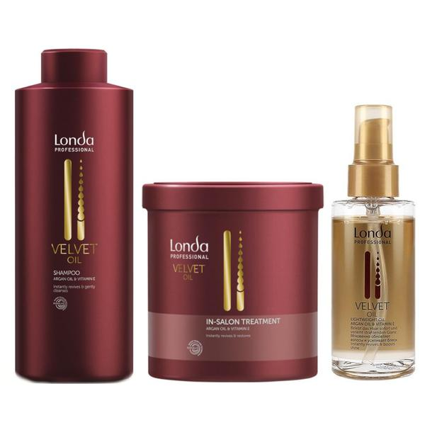 Pachet cu Ulei de Argan Londa Professional Velvet Oil - Sampon, Masca Tratament, Ulei
