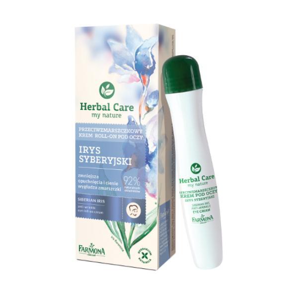 Crema Roll-On Antirid pentru Ochi cu Iris Siberian - Farmona Herbal Care Siberian Iris Anti-Wrinkle Eye Roll-On Cream, 15ml imagine produs