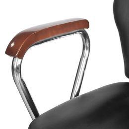 Scaun profesional de frizer, cu tetiera si piele artificiala, negru - Caerus Capital