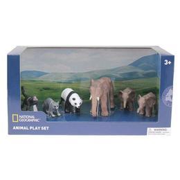 Set 6 figurine - Elefantul si puii, Maimuta, Raton, Urs Panda