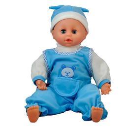 Papusa care creste bleu 40 cm cu accesorii, Baby Lovely