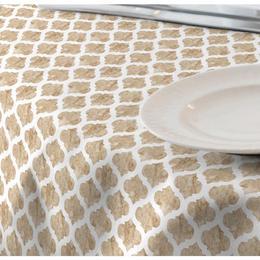 Fata de masa impermeabila (teflonata) Casa de bumbac, Cell, 180x140 cm, Model Geametric, Bej