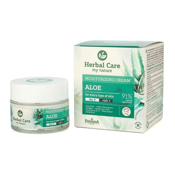 Crema Hidratanta de Zi/Noapte cu Aloe - Farmona Herbal Care Aloe Moisturizing Cream Day/Night, 50ml imagine produs