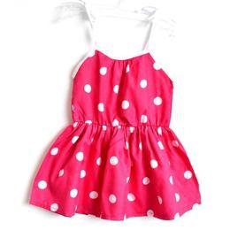 Rochita vara bumbac 100%, bretele ajustabile, elastica in talie, roz ciclam cu buline albe, 4-5 ani