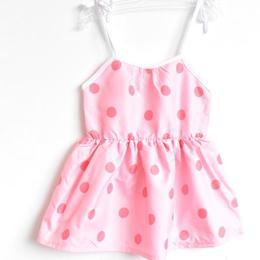 Rochita vara bumbac 100%, bretele ajustabile, elastica in talie, roz cu buline albe, 2-3 ani