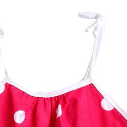 Rochita vara bumbac 100%, bretele ajustabile, elastica in talie, roz ciclam cu buline albe, 1-2 ani