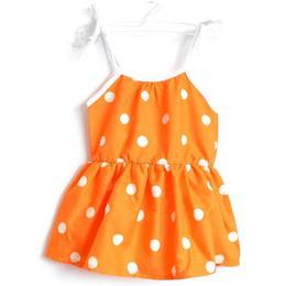 Rochita vara bumbac 100%, bretele ajustabile, elastica in talie, portocaliu cu buline albe, 3-4 ani