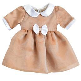 Rochita botez, rochita ocazie, Simonique, voal si saten, maro si alb, 0-6 luni