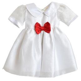 Rochita botez, rochita ocazie, Simonique, voal si saten, alb, fundita rosie, 6-12 luni