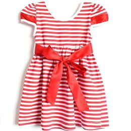 Rochita bumbac 100%, cordon in talie, alb cu dungi rosii, 3-4 ani