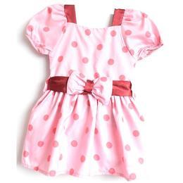 Rochita bumbac 100%, cordon in talie, roz cu buline, 3-4 ani